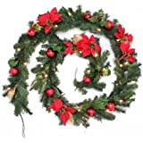WeRChristmas 9 ft Decorated Pre-Lit Garland Christmas Decoration Illuminated with 40 Warm White LED Lights, Red/ Gold