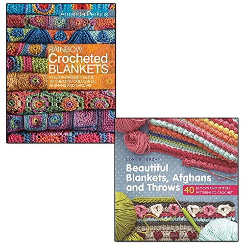 rainbow crocheted blankets and beautiful blankets afghans and throws 2 books set