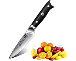 SHAN ZU Couteaux à fruits et à légumes Couteaux à éplucher Couteau de Damas Japonais 67 Couche Acier - PRO Series