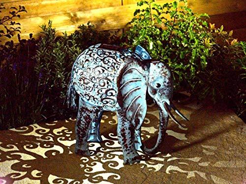 Wunderschöne Metall Garten Deko Figuren Solar Tiere mit LED Beleuchtung und Lichtsensor | wunderschöne Garten Dekoration mit Solar LED Leuchten (Elefant)