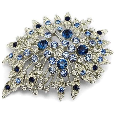 Elixir77UK Braut-Brosche mit blauen Kristallen,Silver Farbe Blumenstrauß, Geschenk für die BrautBraut-Brosche mit blauen Kristallen