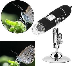 Microware 8LED Light 2MP Magnifier + USB Digital Microscope + Endoscope Camera 50X~1000X + Stand