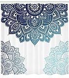 Abakuhaus Henna Duschvorhang, Vibrierende Farbige Mandala, Digital auf Stoff Bedruckt inkl.12 Haken Farbfest Wasser Bakterie Resistent, 175 x 220 cm, Dunkelblau Blass Blau