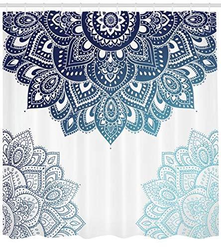 ABAKUHAUS Henna Duschvorhang, Vibrierende Farbige Mandala, Digital auf Stoff Bedruckt inkl.12 Haken Farbfest Wasser Bakterie Resistent, 175 x 240 cm, Dunkelblau Blass Blau