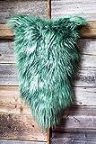 ESTRO | Original ISLÄNDISCHER Schafsfell Lammfell Teppich | Glänzend und luxuriös | Farbvielfalt (Grün, 120 cm)