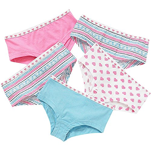 Just Essentials Girls Back To School 5 Pack Cotton Hearts Print Hipster Briefs - Blue-Pink - 13 Years