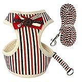 Yiwencult Hundegeschirr für Kleine Hunde, mit Leine, gestreift, Polyester, rote Streifen, M