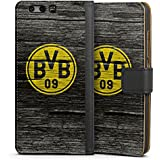 Huawei P10 Plus Tasche Hülle Flip Case Borussia Dortmund BVB Holzoptik