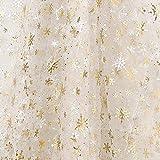 Deconovo Weihnachtsdeko Organza Tüll 300x150 cm Gold Glitzer Schneeflocken