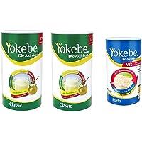 Yokebe 2x Classic Diätshake (zum Abnehmen, glutenfrei und vegetarisch, 480 g) 12 Portionen + Forte Die Diätshake (zur…