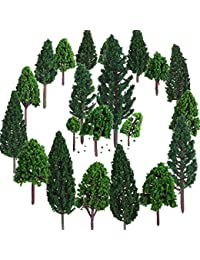 Bememo 22 Piezas de Modelo de Árbol 3 - 16 cm de Árboles de Modelo Mezclados Árboles de Tren Árbol Diorama de Paisaje de Ferrocarril Árboles de Arquitectura para DIY Paisaje, Verde Natural