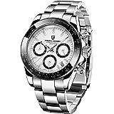 Pagani Design - Orologio da polso analogico da uomo, al quarzo, con cronografo, impermeabile, sportivo, cinturino in acciaio