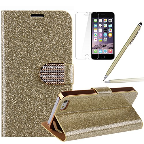 iPhone 6s plus Handyhülle,iPhone 6 plus Case,iPhone 6S plus Hülle - Felfy Sleek Simple Gold Luxury Luxus Bling Sparkle Flip PU Leder Wallet Case Tasche Schutz hülle Etui für Apple iPhone 6 pplus 5.5 Z Gold