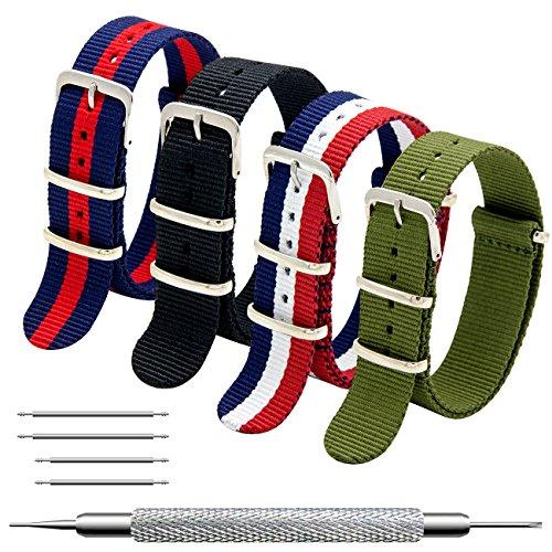 d Packung mit 4 NATO Strap 16mm 18mm 20mm 22mm 24mm Ballistic Nylon Uhr Armband Zulu Uhrband mit Edelstahl Schnalle ()