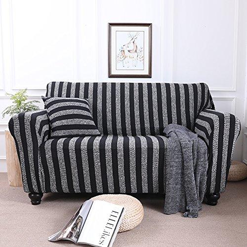 DW&HX Strecken sie Stricken Sofa abdecken,1-teilige Baumwoll-Couch abdeckungen Slip beständig Möbel beschützer für 1 2 3 4 Sofa slipcovers -Schwarz 4 Sitzer