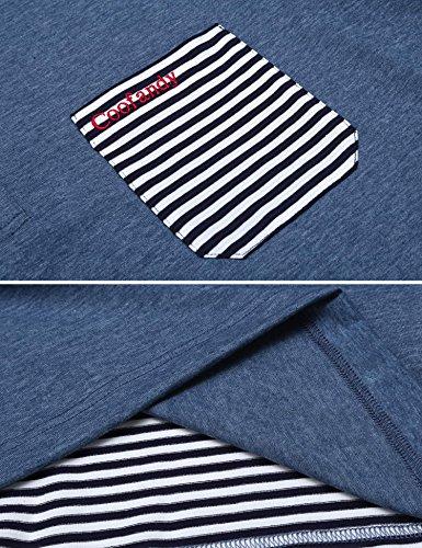 ZEARO Herren drehen unten Kragen kurzes Hülsen-gestreiftes Patchwork-Polo-Hemd Dunkel Blau