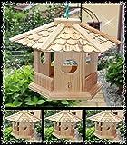 Vogelhaus Vogelhäuser (V76) Vogelfutterhaus Vogelhäuschen-aus Holz- Schreinerarbeit-6-Eck natur