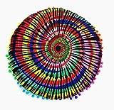 Watopi - Federa per Cuscino con Grande Mandala Indiano, Motivo Floreale, con Pompon, Multicolore Arcobaleno, Cuscino per Meditazione, Yoga, Pouf, ottomano, Diametro 43 cm