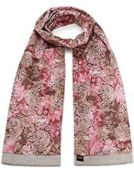 Mailando Damen Schal aus Baumwolle und Seide, rot – hellgrau
