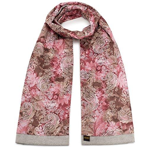 Mailando Sciarpa da donna in cotone e seta, colore: rosso, colore: grigio chiaro