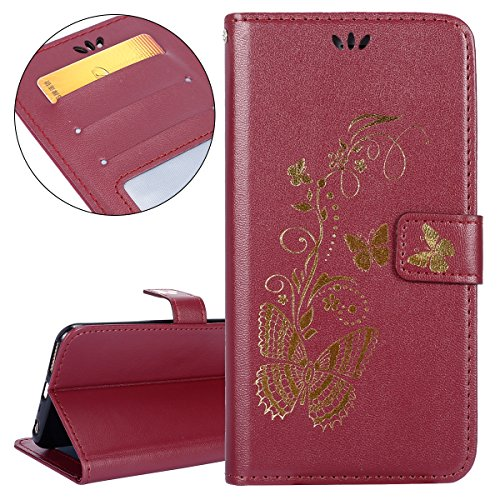 Hülle für iPhone 6S Plus, Tasche für iPhone 6 Plus, Case Cover für iPhone 6 Plus, ISAKEN Glitzer Strass Kristall Blume Schmetterling Muster Folio PU Leder Flip Cover Brieftasche Geldbörse Wallet Case  Gold Schmetterling Rotbraun
