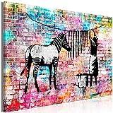 decomonkey Bilder Banksy 120x80 cm 1 Teilig Leinwandbilder Bild auf Leinwand Wandbild Kunstdruck Wanddeko Wand Wohnzimmer Wanddekoration Deko Street Art Graffiti Zebra