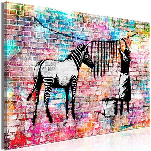 decomonkey Bilder Banksy 120x80 cm 1 Teilig Leinwandbilder Bild auf Leinwand Wandbild Kunstdruck Wanddeko Wand Wohnzimmer Wanddekoration Deko Street Art Graffiti Zebra -
