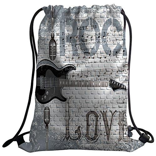 Violetpos Mode costumbre Unisex Turn Bolsa Mochila Bolsa de deporte Gym Bag gris pared amor Rocas Micrófono Guitarra