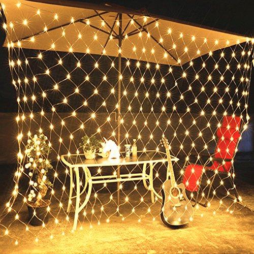 HJ® LED Lichternetz 204er Leds mit Stecker 230v Weihnachten Lichterketten und 8 Programm für Party, Garten, Weihnachten, Halloween, Hochzeit, Beleuchtung Deko 2M x 2M Warmweiß