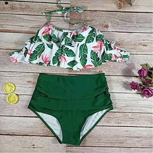 Man9Han1Qxi Sexy gekräuselter Blumendruck Hohe Taille Halfter Bikini Set Frauen Zwei Stück Bademode 3# S -