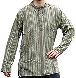 HEMAD Fischerhemd Baumwoll-Hemden Kurta Hemd grün gestreift XXXL