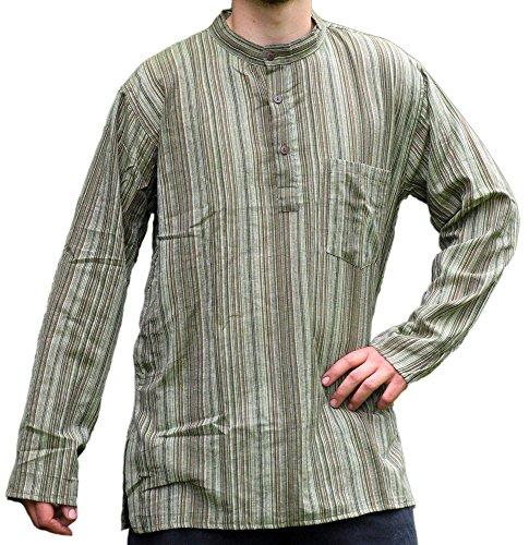 HEMAD Herren Hemd Fischerhemd S-XXXL gestreift blau-weiß, beige-braun, türkis, bunt, rot, braun, schwarz reine Baumwolle Grün Gestreift