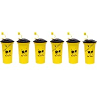 Perpetual Bliss (Pack of 6) Smiley Sipper Bottle with Straw/Lid/Return Gift for Kids Birthday Party