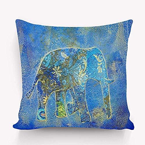 Duang Funda de Almohada de algodón Vintage para el hogar Funda de Almohada Decorativa para el hogar Funda de cojín Elefante Collage Hermoso 45X45 cm