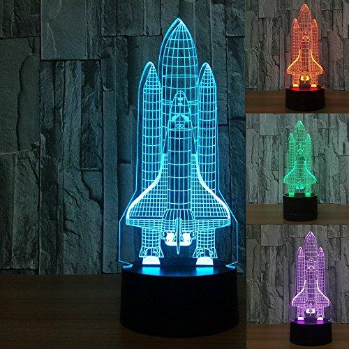 3D Die Rakete Optische Illusions-Lampen, Tolle 7 Farbwechsel Acryl berühren Tabelle...