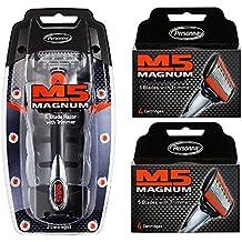 Personna M5 Magnum 5 Razor with Trimmer + M5 Magnum 5 Refill Razor Blade Cartridges4 ct.