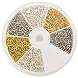 PandaHall 1 Scatola 700PCS Connettore Vite Bail Vite per Perline Mezzo-Forato, Colore Oro & Argento & Platino, 10x4x1mm, Foro: 2mm