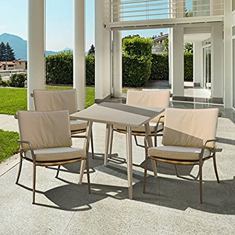 In alluminio e rattan set di mobili da giardino 4sedie con cuscini