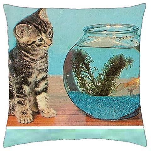Kitty Cat & Goldfish Bowl - Throw Pillow Cover Case (Kitty Bowl)