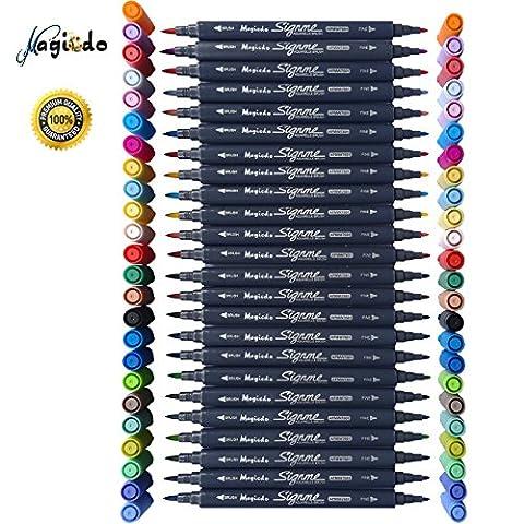 Magicdo® 24Cols Textmarker,Dual Tip Aquarell Pinsel Pen Wasser Basierte Marker Für Skizzieren,Malerei Und Färbung,Wasser Lösliche Marker Pen Mit Wasser Farbe Pinsel Spitze Und Feine Spitze (24)