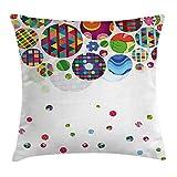 Circle Decor federa per cuscino, design geometrico astratto sfondo con ornamento cerchi stampa, decorative Square Accent Pillow case, 45,7x 45,7cm, multicolore