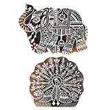 #10: Hashcart (5 inch, Set of 2) Wooden Printing Stamp Block Hand-Carved for Saree Border Making Pottery Crafts Mehandi Printing