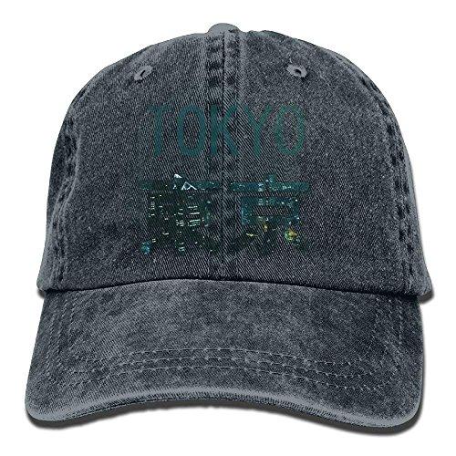 Hoswee Unisex Kappe/Baseballkappe, Tokyo City Beautiful Trend Printing Cowboy Hat Fashion Baseball Cap for Men and Women Black