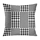 longkouishilong Kissenbezüge Bauhaus Design with Black White Squares and Rhombuses with Optical Alternating Chequered Tartan Canted Decorative Pillow Case Home Decor Square 18x18 Inches Pillowcase