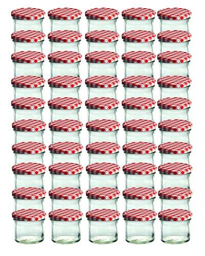 Cap+Cro To 66 Lot de 50 bocaux en verre pour conservation de confiture Couvercles rouges à carreaux Capacité 125 ml