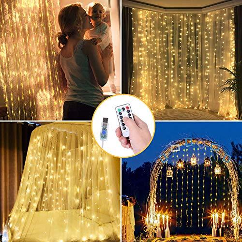 OUSFOT LED Lichtervorhang 3x3m Lichterkettenvorhang 300 LEDs mit Fernbedienung Warmweiß für Innen Deko Weihnachten Party Hochzeit Verpackung MEHRWEG