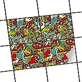 creatisto Badezimmerfolie | Motiv-Folie Sticker Aufkleber Fliesen überkleben Dekorfolie Badezimmergestaltung | 25x20 cm Muster Ornament Monster Doodle - 4 Stück