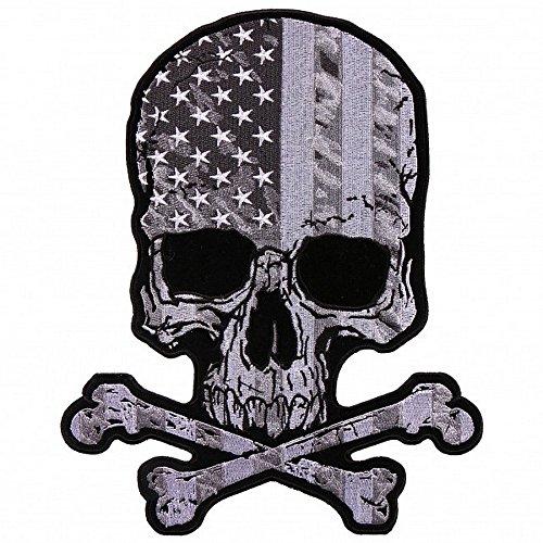 Patch Skull US Black & White - Skelett Biker-shirt