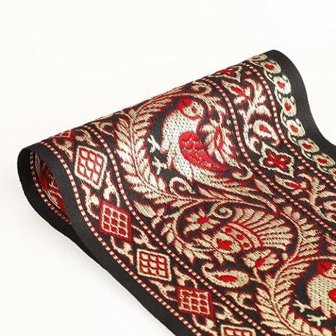 Neotrims Barley 13,5cm large ruban doré garniture décorative Bordure sari indien noir vintage. Unique Vintage Light or métallique et rouge sur base Noir. Motif floral traditionnel & perroquets Jacquard de l