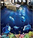 DDBBhome Modernes Kundenspezifisches Fußboden-Wandgemälde 3D Schöner Delphin-Unterwasserwelt-3D Badezimmer-Nicht, Beleg Wasserdichtes Selbst, Selbstklebende PVC-Tapete, 200X100Cm